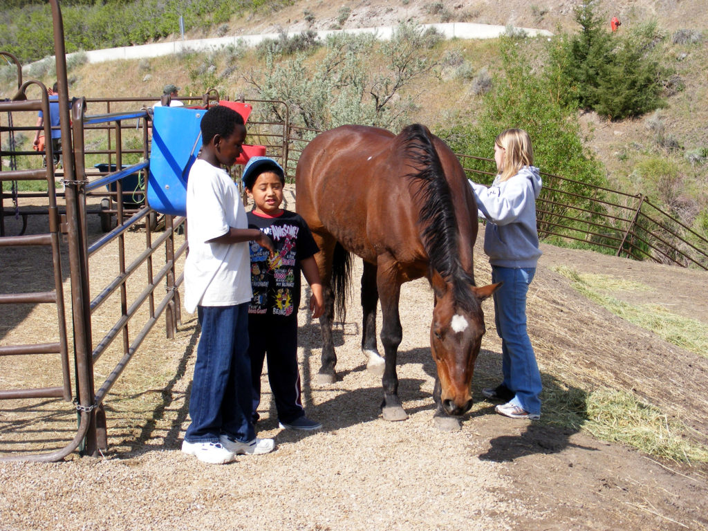 Bisbee with children in corral